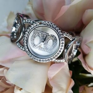 Bebe Silver Rhinestone watch